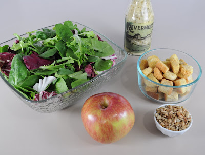 Mixed Greens with Apples, Sunflower Seeds, and Croutons with a White Cheddar and Chive Vinaigrette