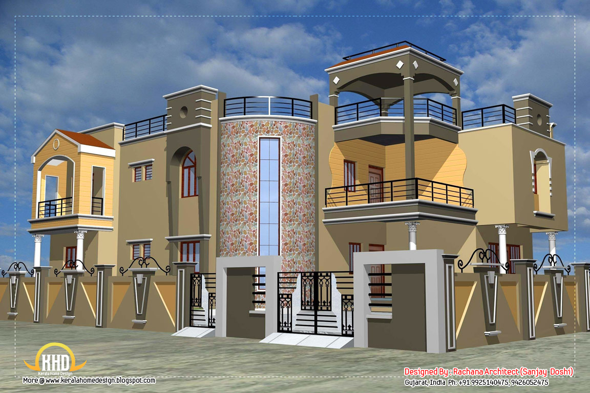 Luxury indian home design with house plan 4200 sq ft for Indian small house photos