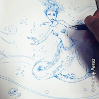 Mermaid drawing in blue ink by Johnny Perez