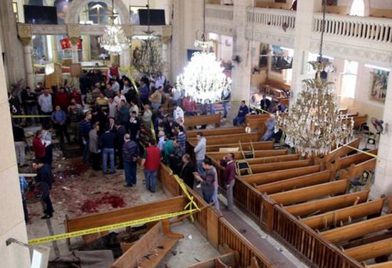 Suasana di Gereja Koptik Mar Girgis, di Tanta, Mesir, Minggu (9/4/2017).(Khaled Elfiqi/EPA)