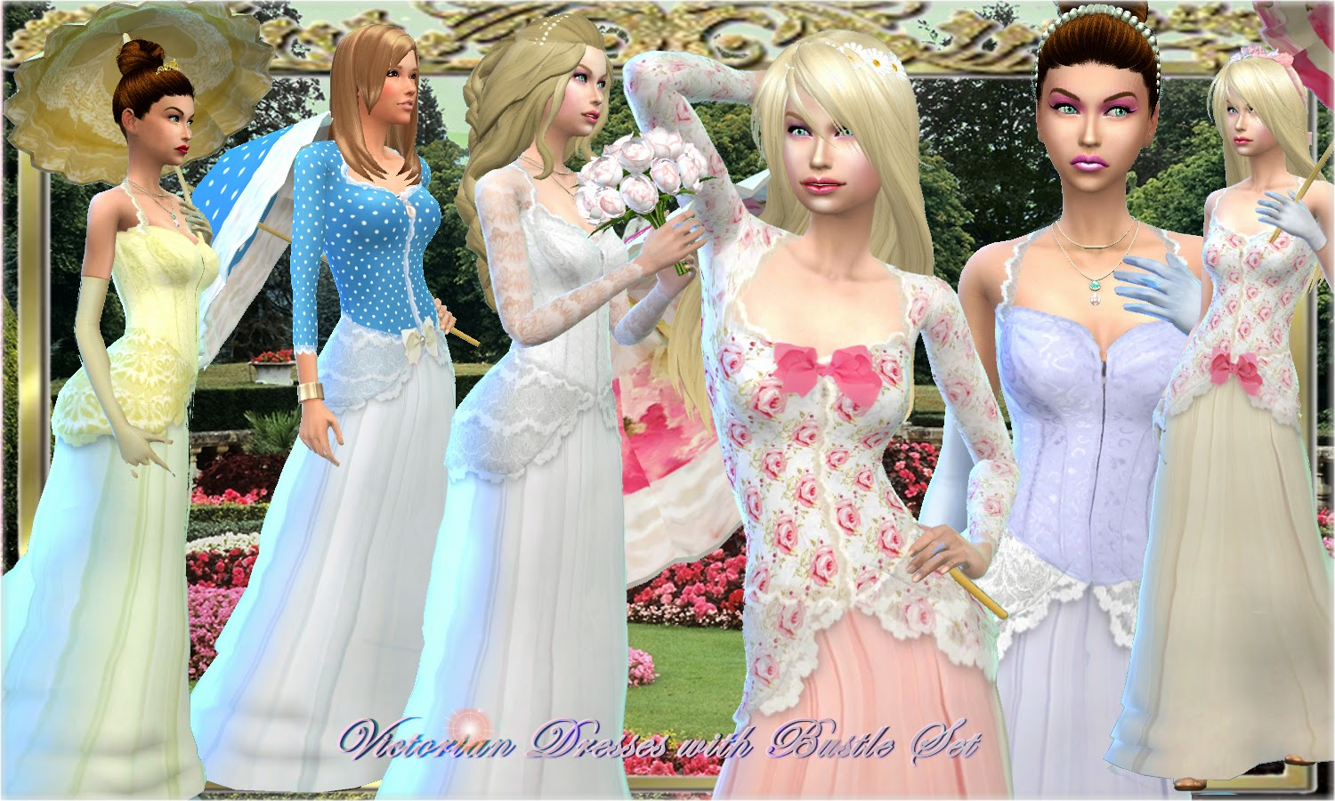 Mythical Dreams Sims 4: Victorian Dress with Bustle Set