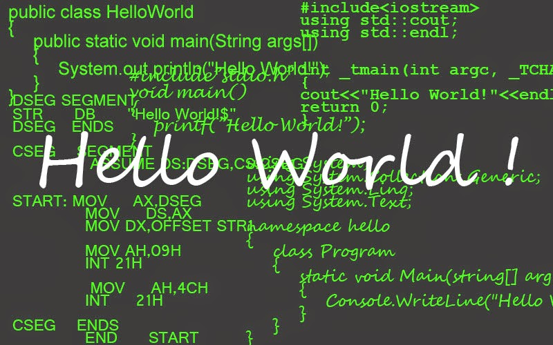 Hello World Program in Eight Different Popular Programming Languages