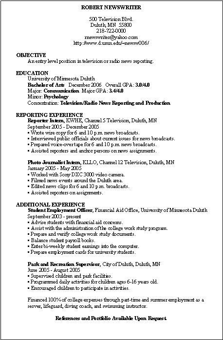 writing an activities resume for college