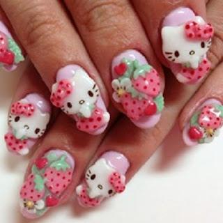 uñas decoradas con pegatina
