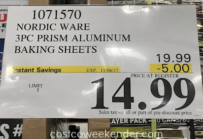 Deal for the 3 piece Nordic Ware Natural Prism Baking Sheet Set at Costco