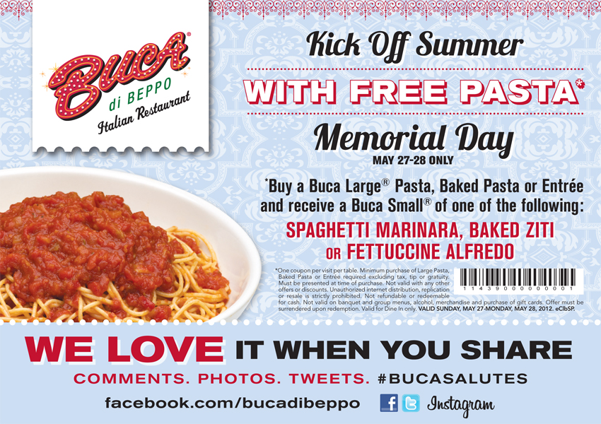 image relating to Buca Di Beppo Printable Coupons called Mommys Motivation Listing: Buca di Beppo: no cost pasta printable coupon.