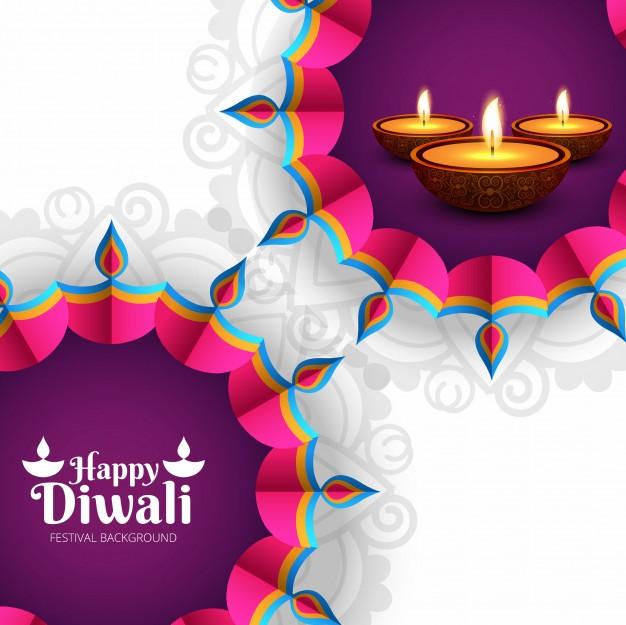 Beautiful Diwali Greeting with professional design diyas