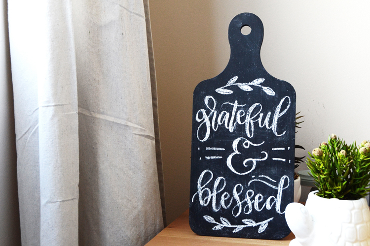 grateful and blessed chalkboard art