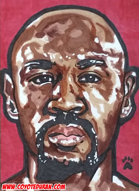 "Marvelous Marvin Hagler, 2.5"" X 3.5"", Micron pen and Copic Marker on Bristol Board sketch card. Art by Coyote Duran"