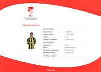 Emre Belözoğluna ait resmi olmayan profesyonel futbolcu lisansı örneği