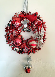 Hand Made Christmas Wreath, Red Christmas Wreath, Tinsel and Glitter Wreath, Red and Silver Christmas Wreath made with vintage and new pieces