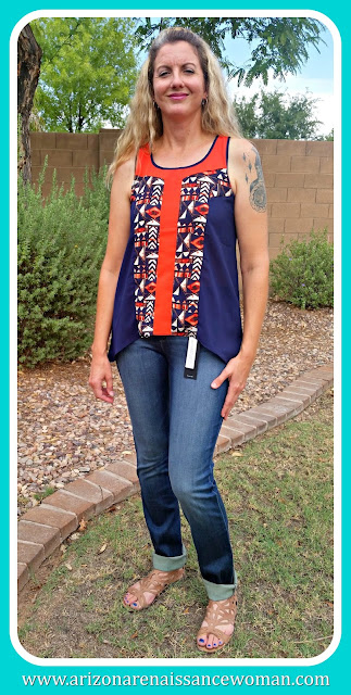THML Gloria Hi-Lo Blouse and DL1961 Ember Straight Leg Jean
