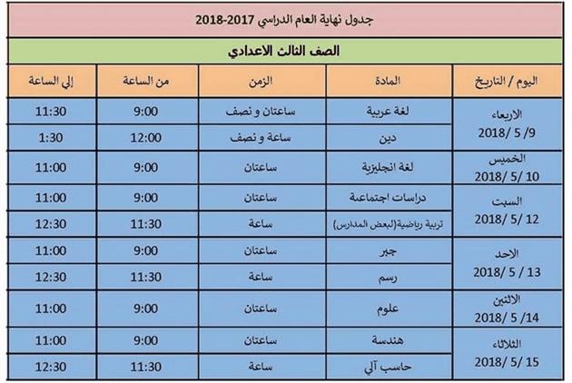 جدول امتحانات الصف الثالث الاعدادى 2018 اخر العام محافظة الاسكندرية