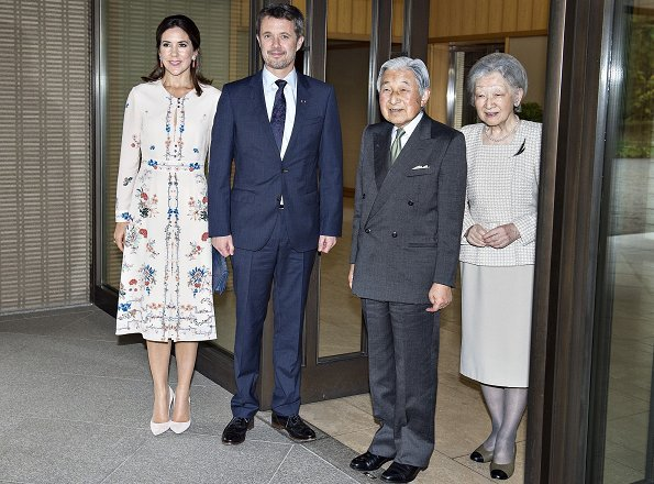 Princess Mary wore VILSHENKO Jerry Floral Print Silk Crepe de Chine Dress. Emperor Akihito and Empress Michiko
