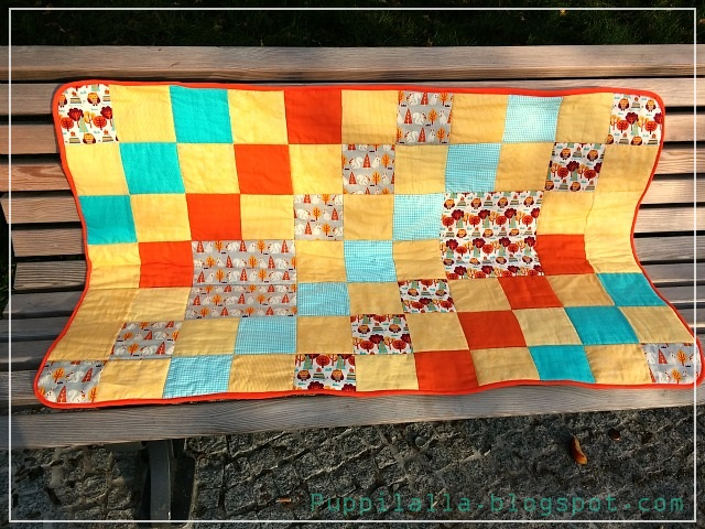 Completed Simple Squares Patchwork Baby Quilt in Yellow, Orange and Blue by Puppilalla