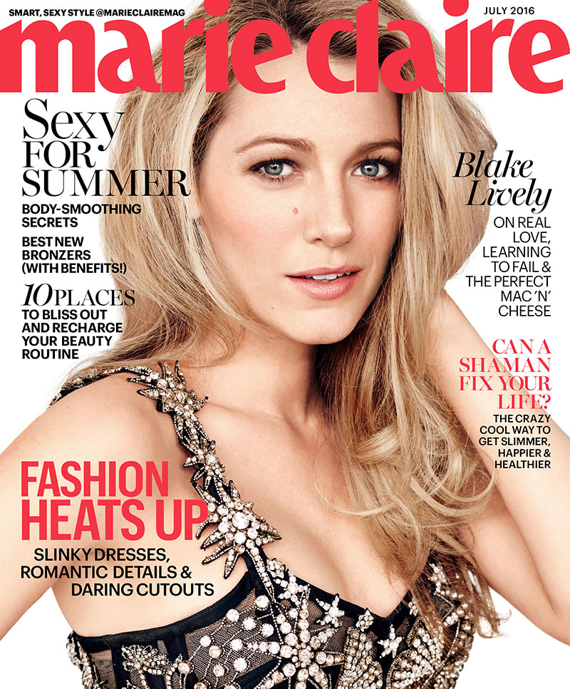 Blake Lively wears an embellished bustier for Marie Claire July 2016