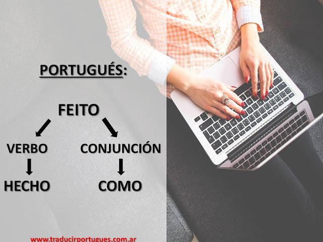 Conjuncion comparativa Feito en portugues y traduccion al espanol