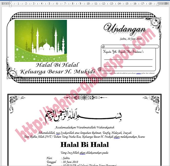 Download Contoh Undangan Halal Bi Halal Keluarga Format