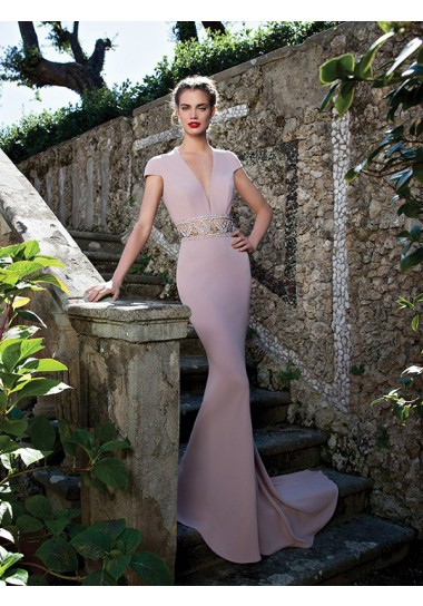 Corte Sirena Escote en V Diamante de Imitación Vestidos de Fiesta/Vestidos de Noche