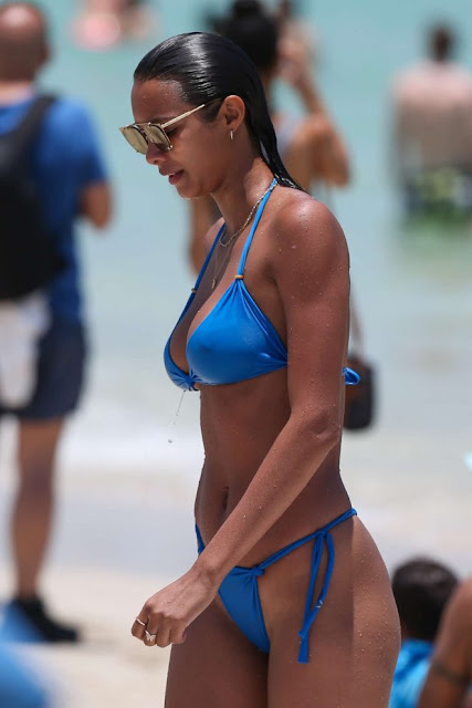 Lais Ribeiro in Blue Tiny Bikini on the beach in Los Angeles