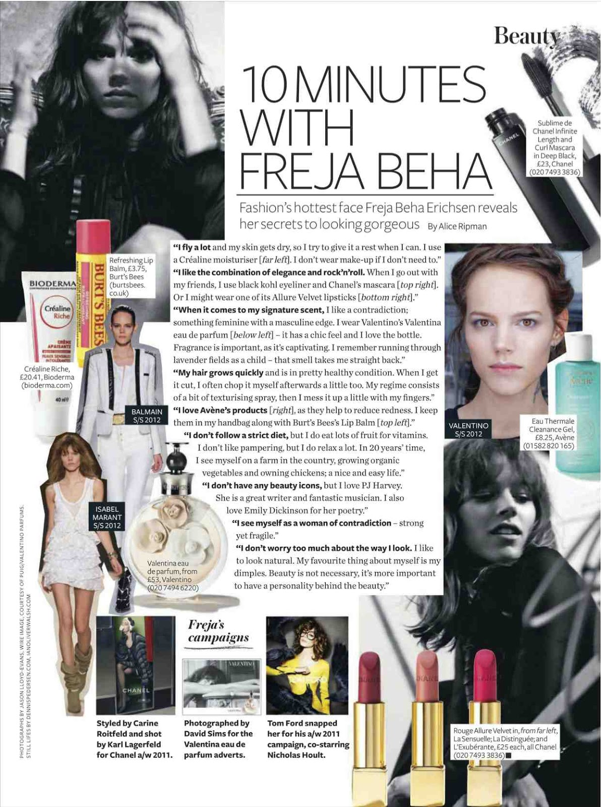freja beha erichsen's beauty tips in InStyle UK june 2012