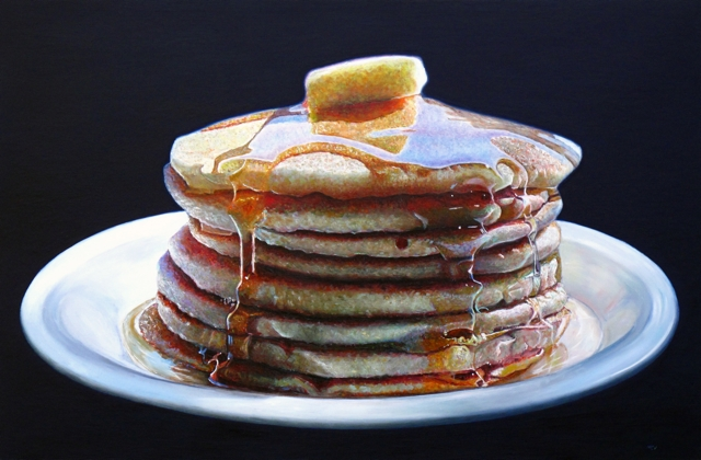 10-Pancakes-Mary-Ellen-Johnson-A-Sweet-Tooth-s-Dream-in-Food-Art-Paintings-www-designstack-co