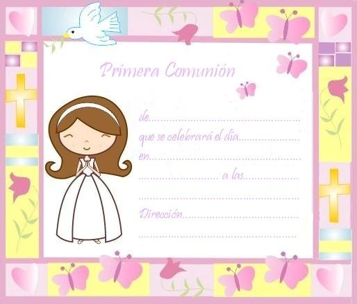 Tarjetas De Invitación Comunión Para Imprimir Gratis Imagui