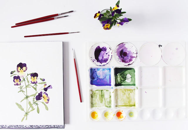 painting, violas, watercolor, botanical watercolor, botanical painting, paint palette, spring flowers, Anne Butera, My Giant Strawberry