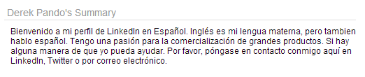 Example of a LinkedIn Profile Summary In Spanish