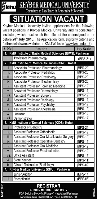 Assistant Professors Jobs in Khyber Medical University