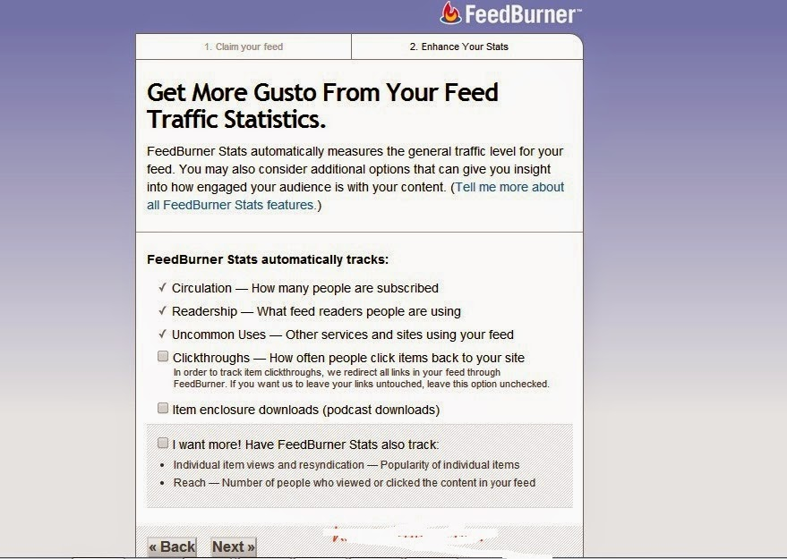 options in feedburner feed submission