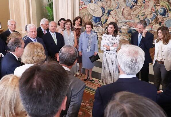 Queen Letizia wore Massimo Dutti print dress and Carolina Herrera pumps. Carlos Fitz-James Stuart, Duke of Alba