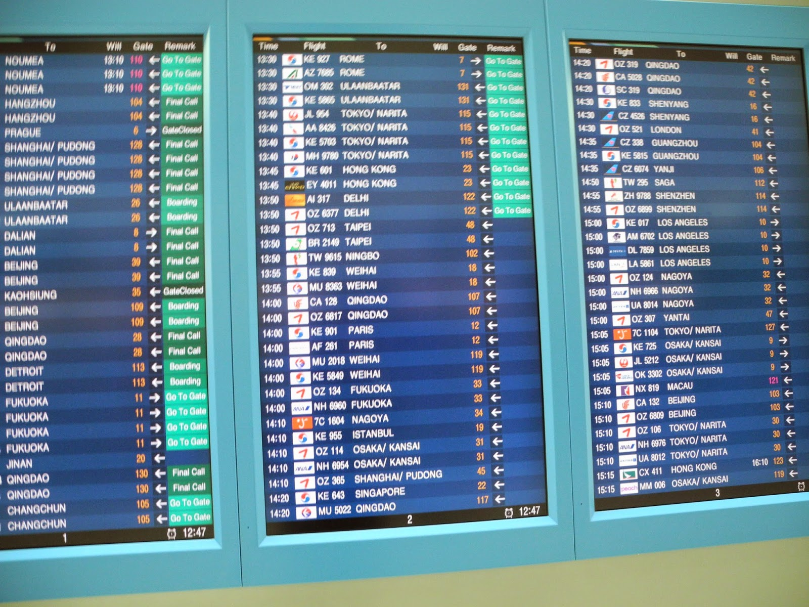 My really splendid overseas vacation blog blogger since 2011 the departure flight information screen in the main terminal at incheon international airport located just aft of the immigrations area and near the korean publicscrutiny Images