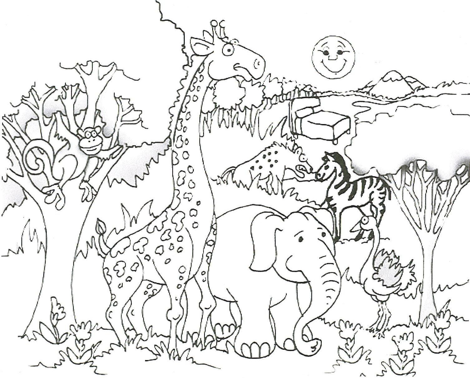 Summary Zoo Animal Coloring Pages