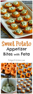 Sweet Potato Appetizer Bites with Feta and Green Onion [found on KalynsKitchen.com]