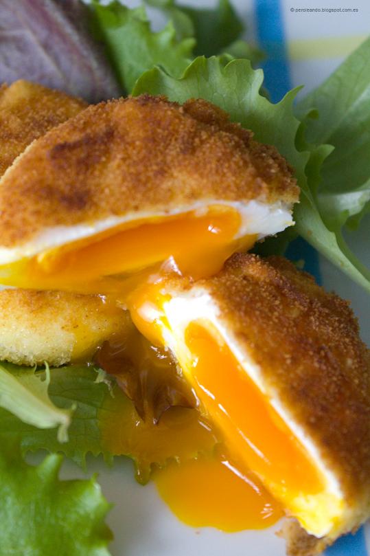 huevos poché empanados