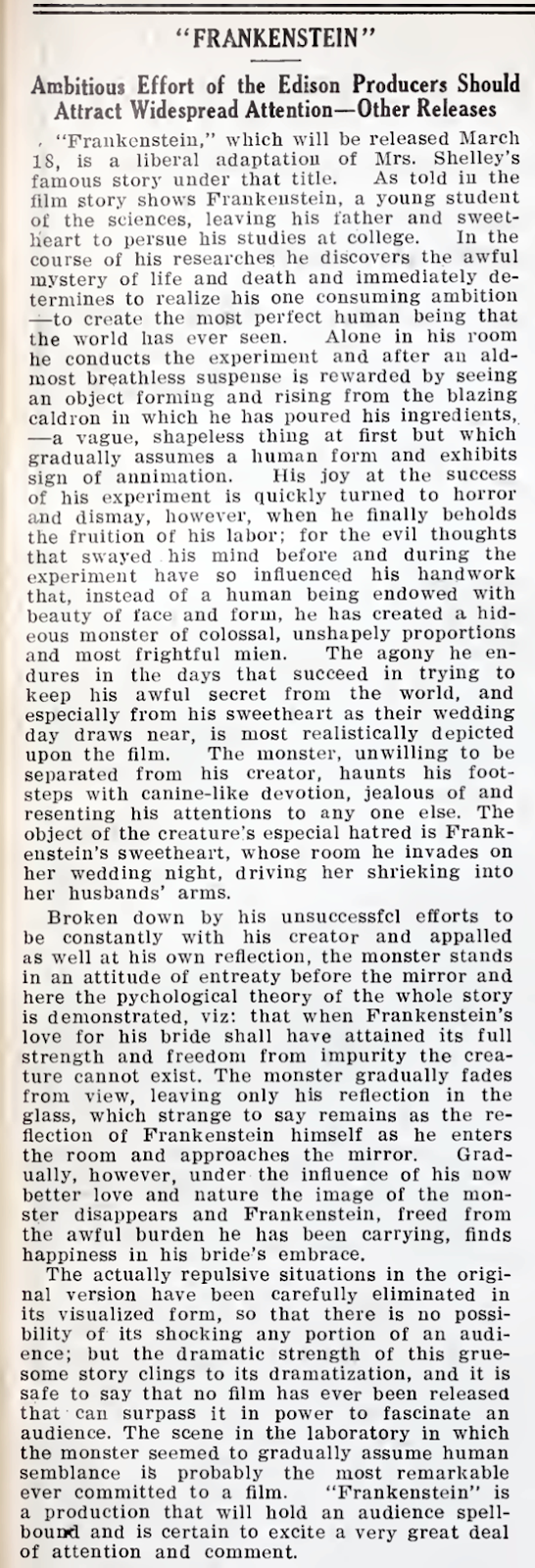 Frankenstein announcement March 12, 1910