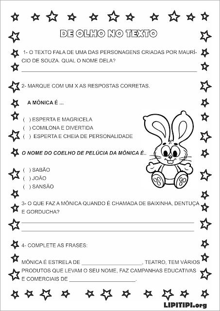 Atividade Personagem Mônica Texto interpretação e gramática