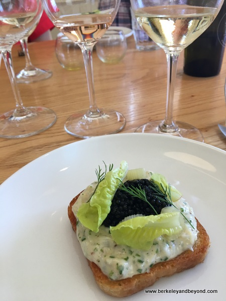 caviar melt at Chef's Table experience at Long Meadow Ranch in St. Helena, California