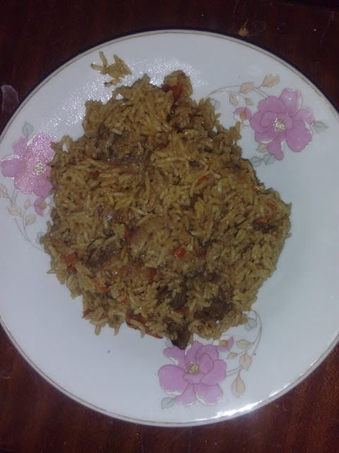 Spicy sweet mixed rice and beef