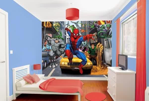 Kamar tidur minimalis laki-laki tema superhero
