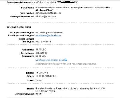 Bukti Pembayaran dari Survey Ipanel Online