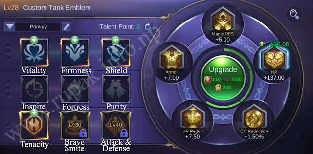 Mobile Legends Custom Tank Emblem Details