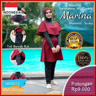 NAG013 Baju Muslimah Swimwear Rocella Marina Setelan Murah Bmgshop