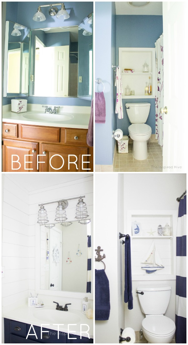 Before and after nautical bathroom makeover. A combined kids and guest bath.