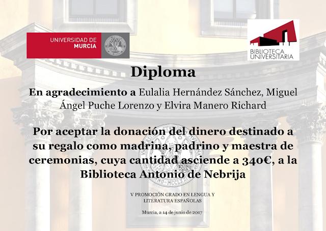 Donación del Grado en Lengua y Literatura Españolas a la Biblioteca Nebrija.