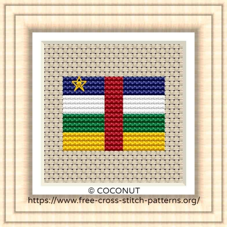 NATIONAL FLAG OF African Central Republic CROSS STITCH CHART