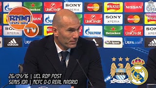Zinedine Zidane en la sala de prensa del Etihad Estadium tras empatar con el Manchester City