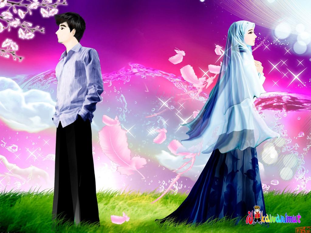 Gambar Kartun Muslimah Romantis Berpasangan Kantor Meme