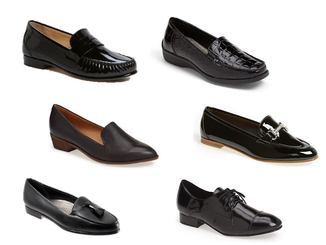 six pairs of classic black shoes